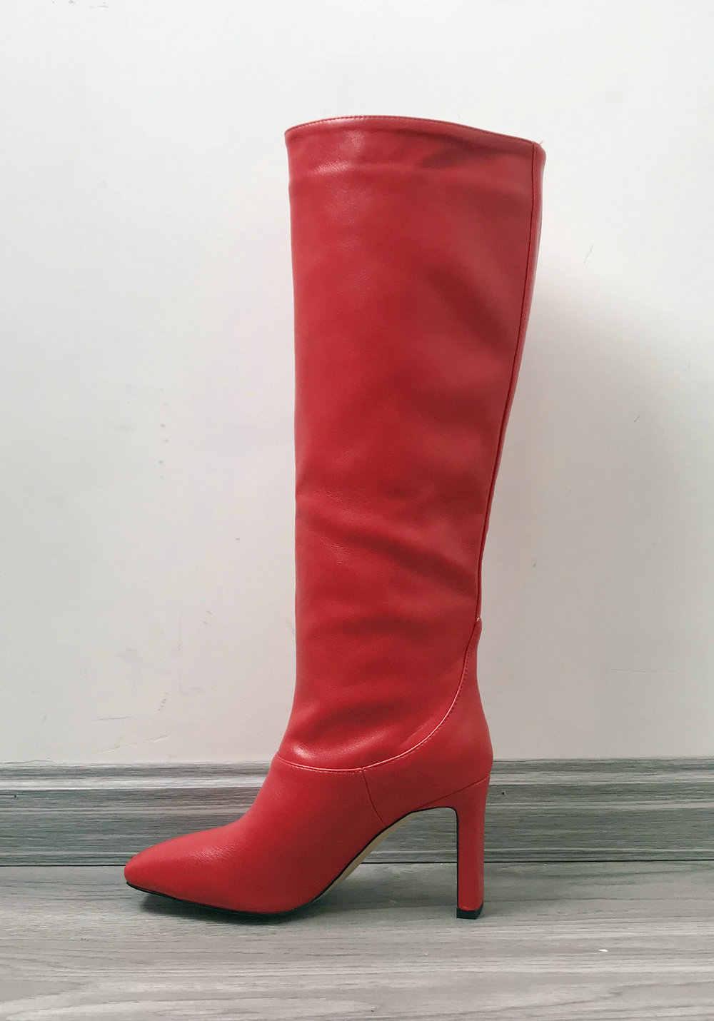 Vrouwen Blok Hakken Knie Hoge Laarzen Herfst Winter Warm Partij Schoenen Vrouw Vierkante Teen Hoge Hakken Motorlaarzen Lange Schoenen 2020