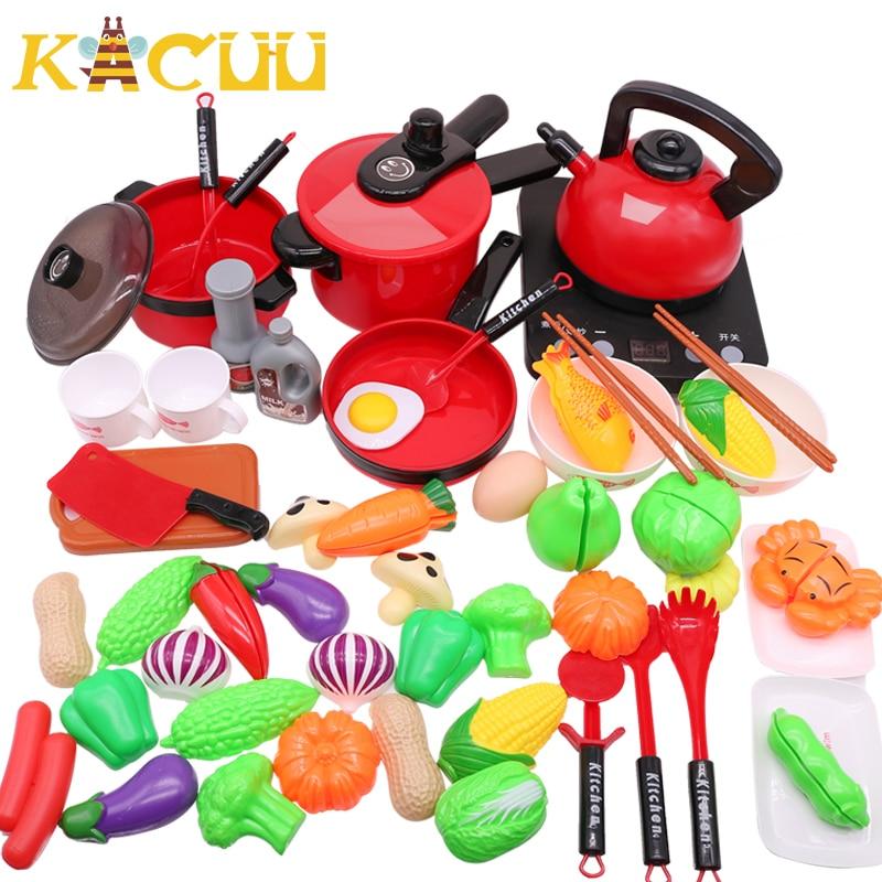 10-44Pieces Children Kitchen Toy Set Cookware Pot Pan Kids Pretend Cook Play Toy Simulation Kitchen Utensils Toys Children Gift
