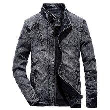 SHUJIN 2019 Classic Mens Denim Jacket Fashion Stand Collar S