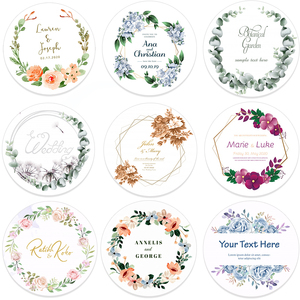 96pcs 4.5cm Customized Add Your Names Wedding Stickers Invitations Seals Candy Favors Gift Boxes Paper Labels Adhesive(China)
