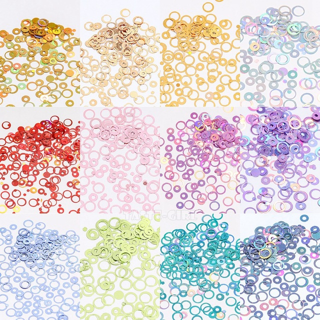 12 Grids/Box Mix Sizes Dreamlike Rainbow Round Holo Circle Sequins Nail Glitter Paillette Nail Art Slice Sequins Decals Set