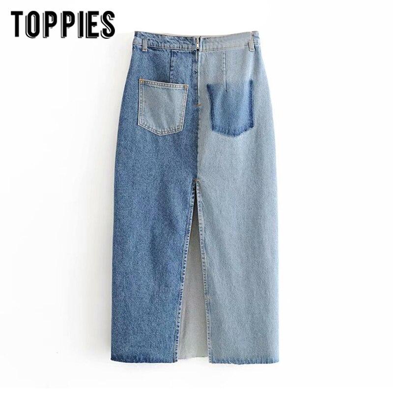 Fashion Denim Skirts Womens High Waist Spliced Long Skirts Vintage Jeans Falals Summer Clothings
