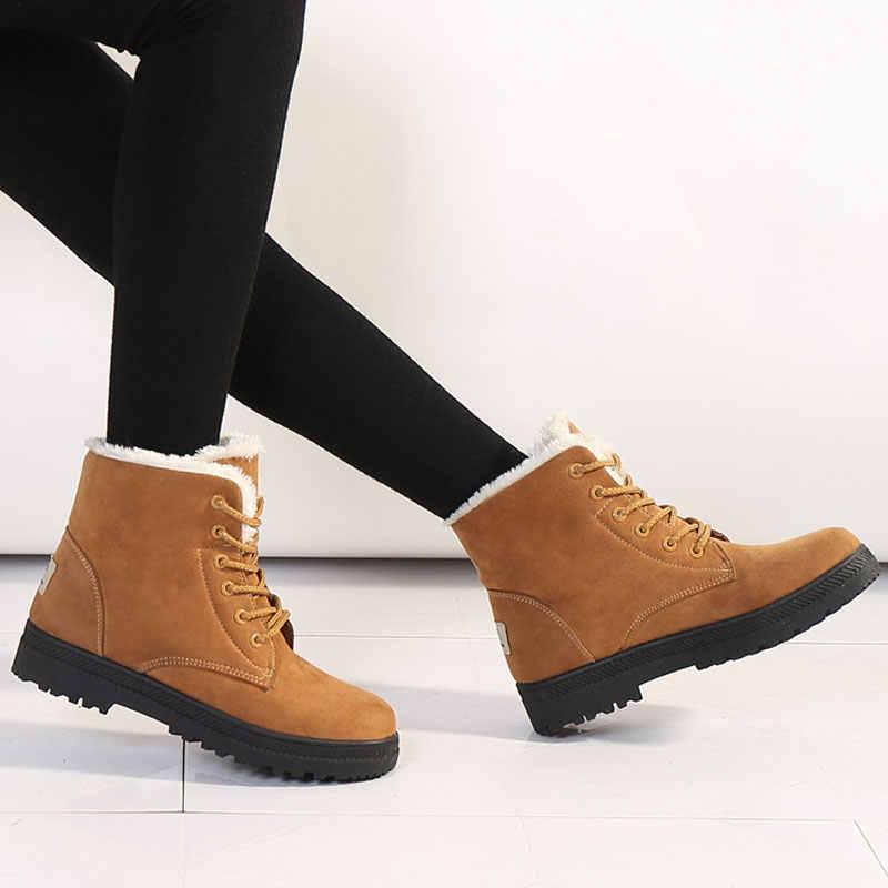 Kış çizmeler kadın ayakkabıları 2019 topuklu kar botları kadın lace up akın kadın yarım çizmeler sıcak kürk peluş astarı kış ayakkabı kadın