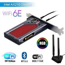 Desktop WiFi 6E AX210 Wireless 2.4G/5G/6Ghz Intel AX210NGW Bluetooth 5.2 802.11AX PCIe Network Adapter Wifi6 Card for Windows 10