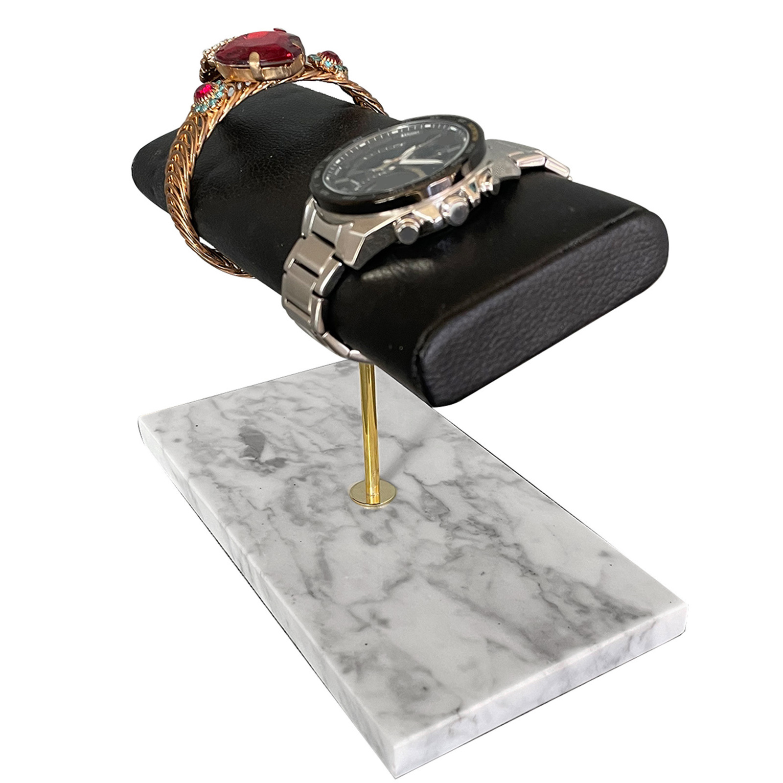 PU Leather Marble Watch Stand Holder Bracelet Bangles Watch Placement T-Bar Rack Jewelry Hard Display Stand Storage Holder
