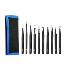 10 X Esd Präzision Anti-Statische Pinzette Set Wartung Edelstahl Werkzeuge Kit