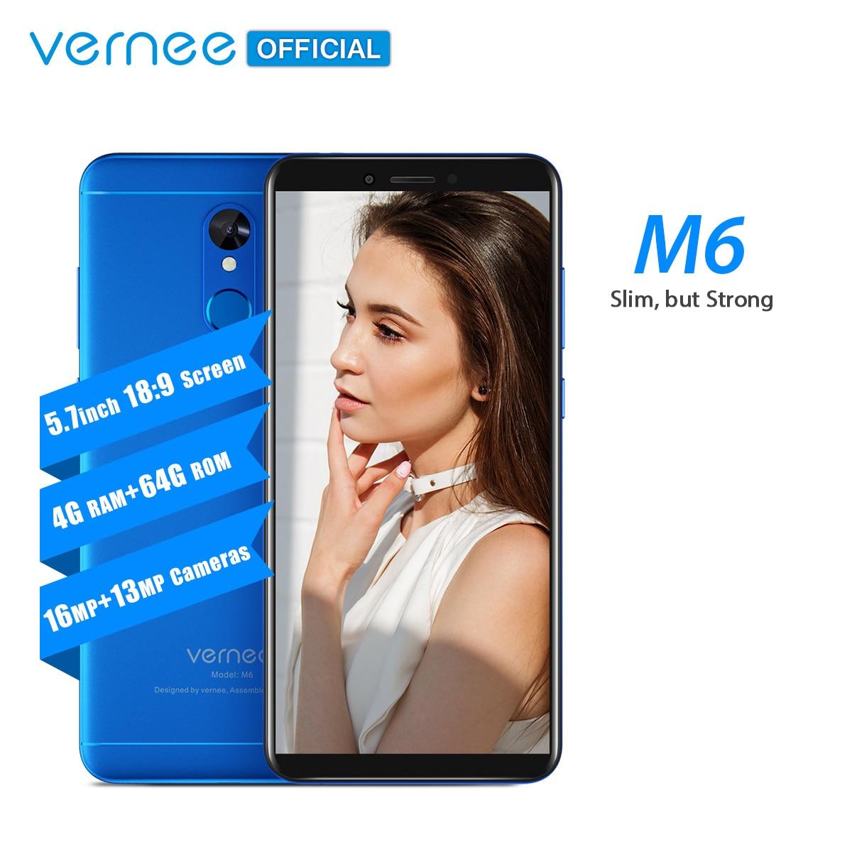 Vernee M6 5,7 дюймов 4GB 64GB смартфон 16MP камеры 4 аппарат не привязан к оператору сотовой связи 3300 мАч Android 7,0 отпечатков пальцев мобильный телефон