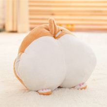 1 pc 38*36cm Cartoon Corgi Sexy Hip Plush Pillow Stuffed Buttocks Cushion Soft Cute Animal Hand Warmer Kids Toy Gift