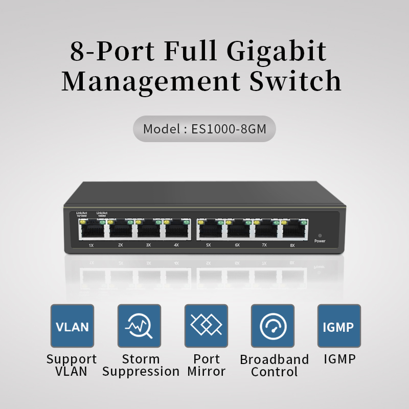 8 Port 10/100/1000Mbps Managed Switch  IGMP VLAN Port Mirror ,8 Port  Gigabit Smart Mirror Switch