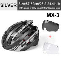 Ti Silver 2 Lenses-INBIKE Cycling Helmet with Goggles Ultralight MTB Bike Helmet Men Women Mountain Road casco Sport Specialiced Bicycle Helmets