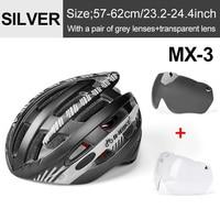Ti Silver 2 Lenses-INBIKE Cycling Helmet with Goggles Ultralight MTB Bike Helmet Men Women Mountain Road casco Sport Specialiced Bicycle Helmets