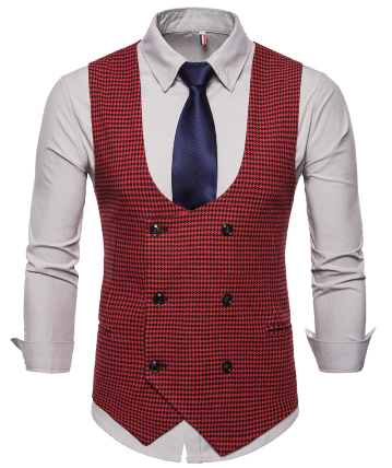 Spring Autumn Man's Vest Vintage Waistcoat Men Suit Vest U-shaped Collar Houndstooth Men's Casual Vest Male Clothing