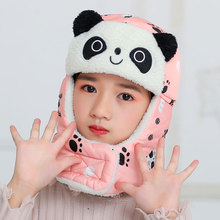 Animal panda Earflaps Russian Hat Mask Warm Bomber Hats for Girl Boy Winter Cap with Scarf Neck Masks Cotton Snow