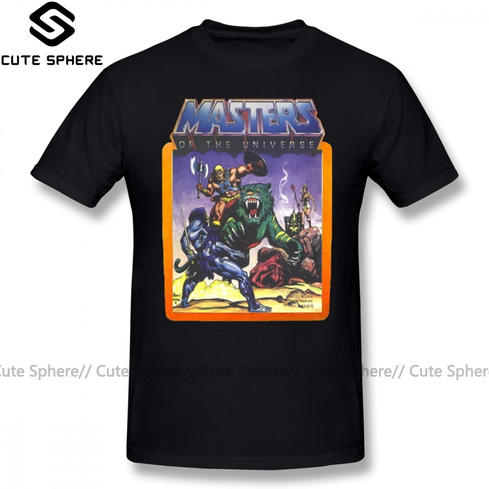 Masters Of The Universe T Shirt He Man Battle Scene With Skeletor T-Shirt Short-Sleeve Tee Tshirt