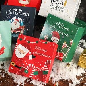 Image 5 - LBSISI Vita 10pcs Di Natale Della Caramella Del Biscotto Scatole di Carta Cupcake Al Cioccolato Biscotto Torrone Regalo Kraft Scatola di Carta Per Il Buon Natale