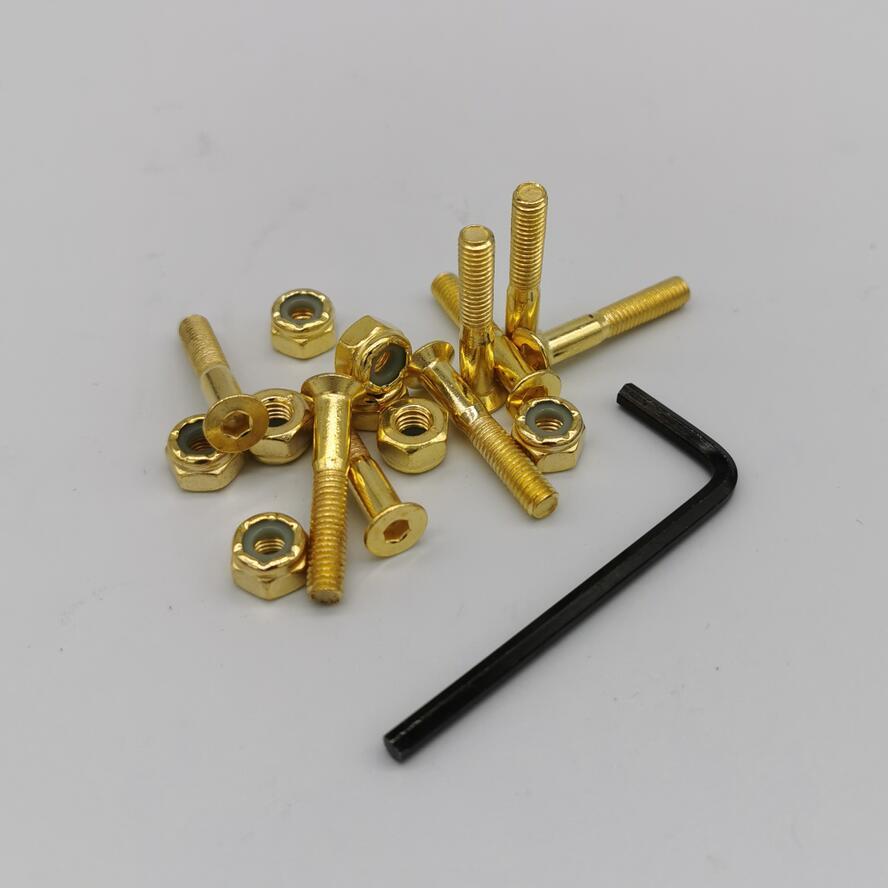 1.14inch 29mm Black Gold Color Skateboard Screws + L Tool Skateboard Bolts And Nuts Skateboard Hardwares