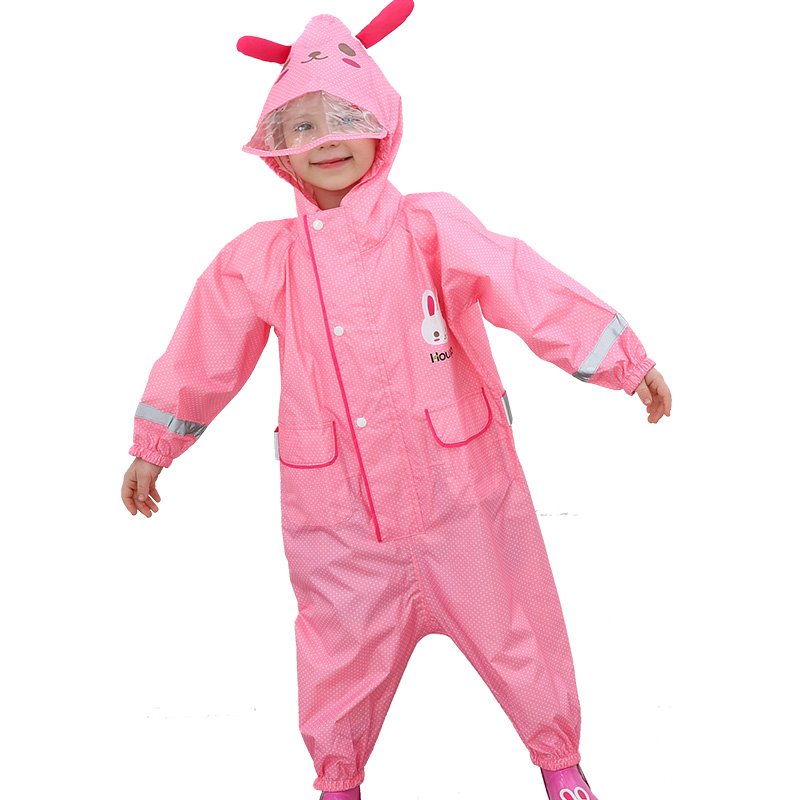 2019 New Children Fashionable Waterproof Jumpsuit Raincoat Hooded Cartoon Dinosaur Kids One-Piece Rain Coat Baby Tour Rain Gear
