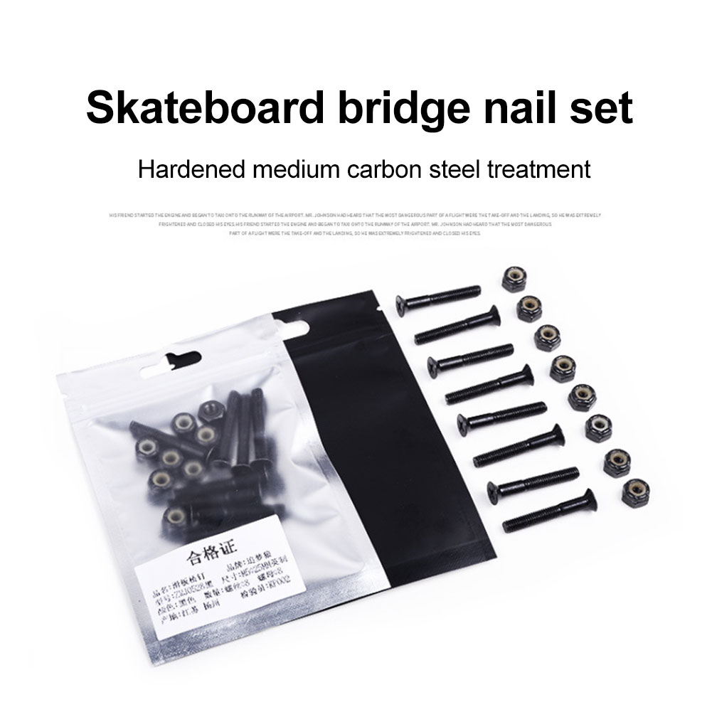 8pcs Spare Truck Screw Nut Set Longboard Hardware Repair Speed Racing Skateboard Durable DIY Cruiser Replacment Part Accesories