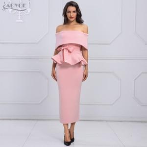 Image 1 - Adyce bow & ruffles 발목 길이 연예인 저녁 bodycon 파티 드레스 2020 새로운 화이트 슬래시 목 짧은 소매 핫 클럽 드레스 여성