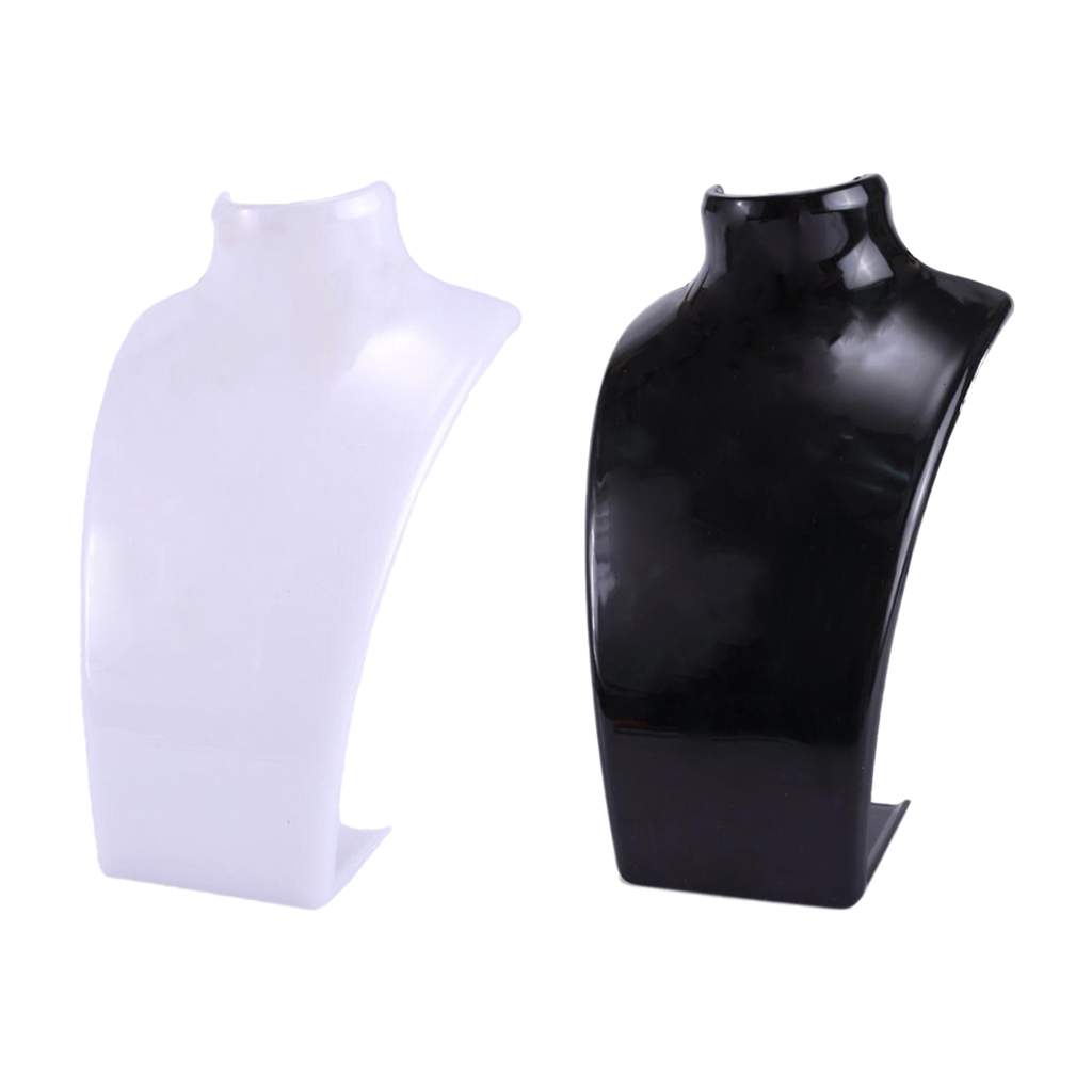 2Pcs Acrylic Necklace Pendant Display Bust Mannequin Stand Holder