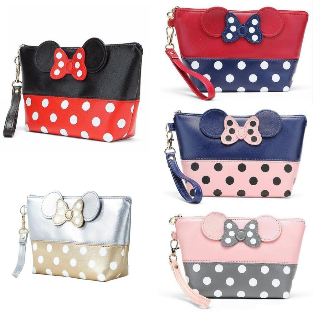 Cute Cartoon Bow Minnie Clutch Bag PU Travel Storage Bag Cosmetic Bag Ladies Fashion Zipper Wash Bag Quality Handbag 2019