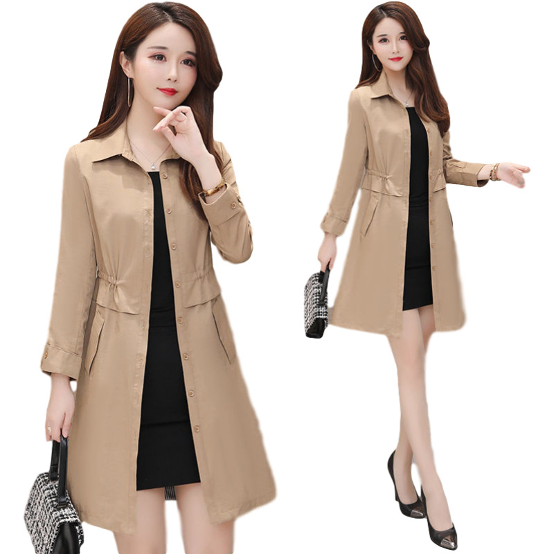 Women's new mid-length windbreaker 2021 pure color and elegant temperament thin coat