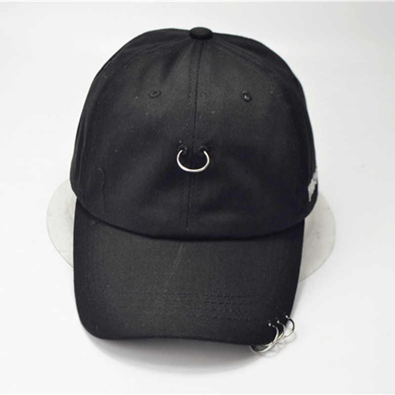 Korea nit pin żelazny pierścień nieformalna czapka mężczyzna i kobieta street hip hop jednokolorowa czapka bejsbolowa outdoorowa z daszkiem kapelusz