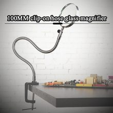 Illuminated Magnifier Magnifying Clip On Desktop Glass Reading Loupe Metal Hose LED Lighted Lamp Top Desk 5X 100MM Clamp #2(China)