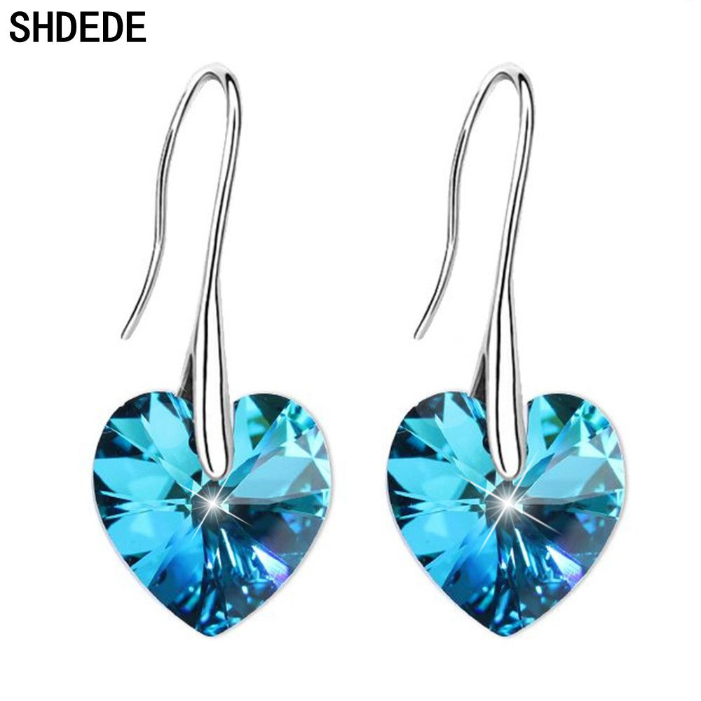 SHDEDE Dangle Earrings Embellished With Crystals From Swarovski Drop Eardrop Hypoallergenic Wedding Party Jewelry Gift -263