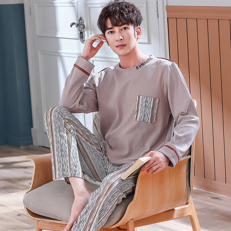 Long-sleeved Youth Cotton Large Size Xxx Cotton Pajamas Men's Spring And Autumn L Loose Outside Wear Home Clothes Thin Suit