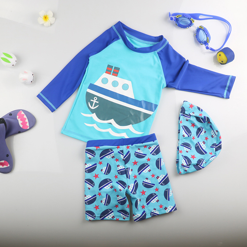 Infants KID'S Swimwear South Korea Baby Boy Men's Big Boy Split Type Sun-resistant Sweat-wicking Swimming Trunks Long Sleeve Hot