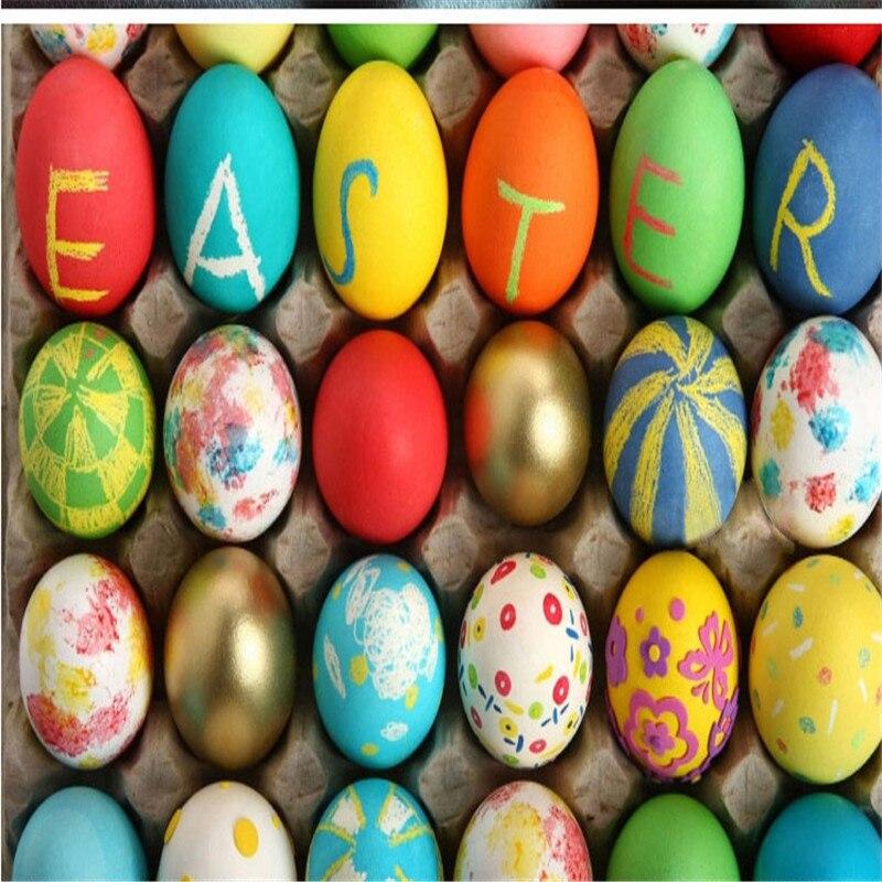 Colorful Easter Egg Eggshell Art Easter Party Favors Kids Plastic Egg Handmade DIY PaintingKindergarten Educational Craft Toys