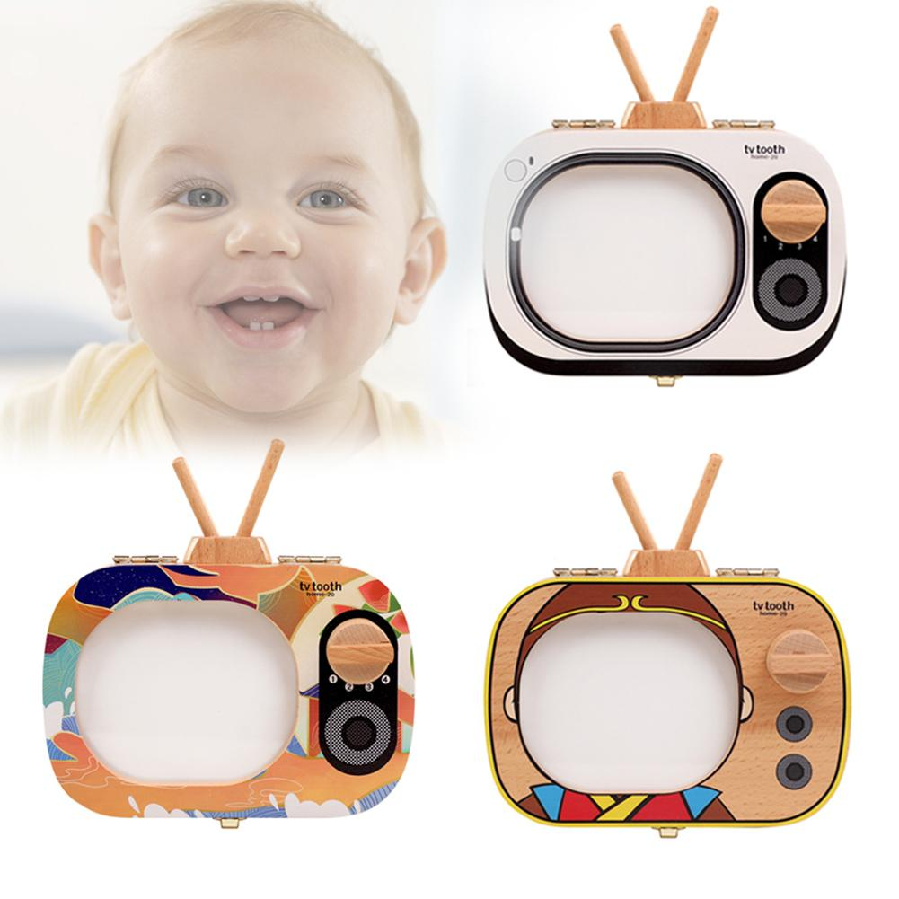 Baby Milk Teeth Box Wooden Tooth Box Baby Tooth Organizer For Kids Deciduous Storage Box Memorial Wooden Collection Box TV Shape