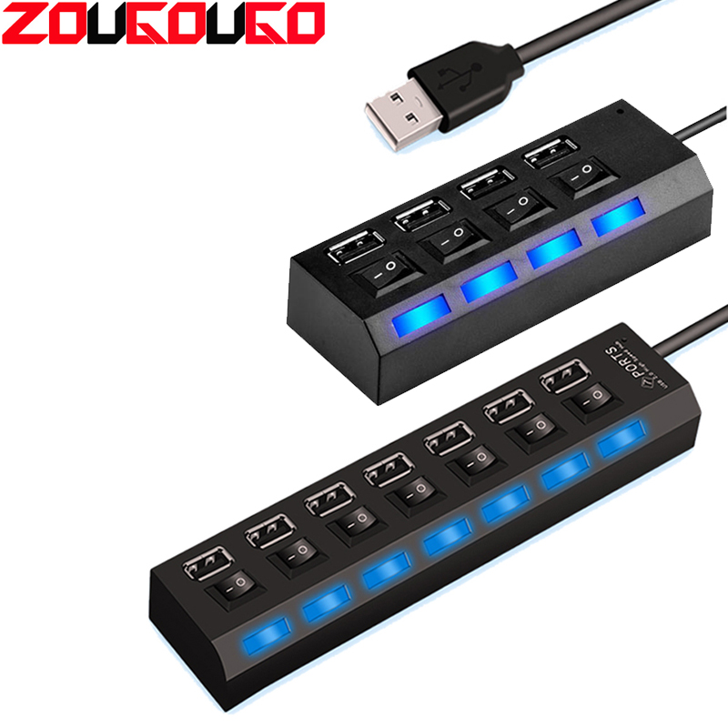 USB HUB 2.0 Super Speed 480 Mbps 4/7 Ports Portable Micro USB 2.0 HUB Splitter With LED Lamp For Laptop PC Tablet USB 2.0 HUB
