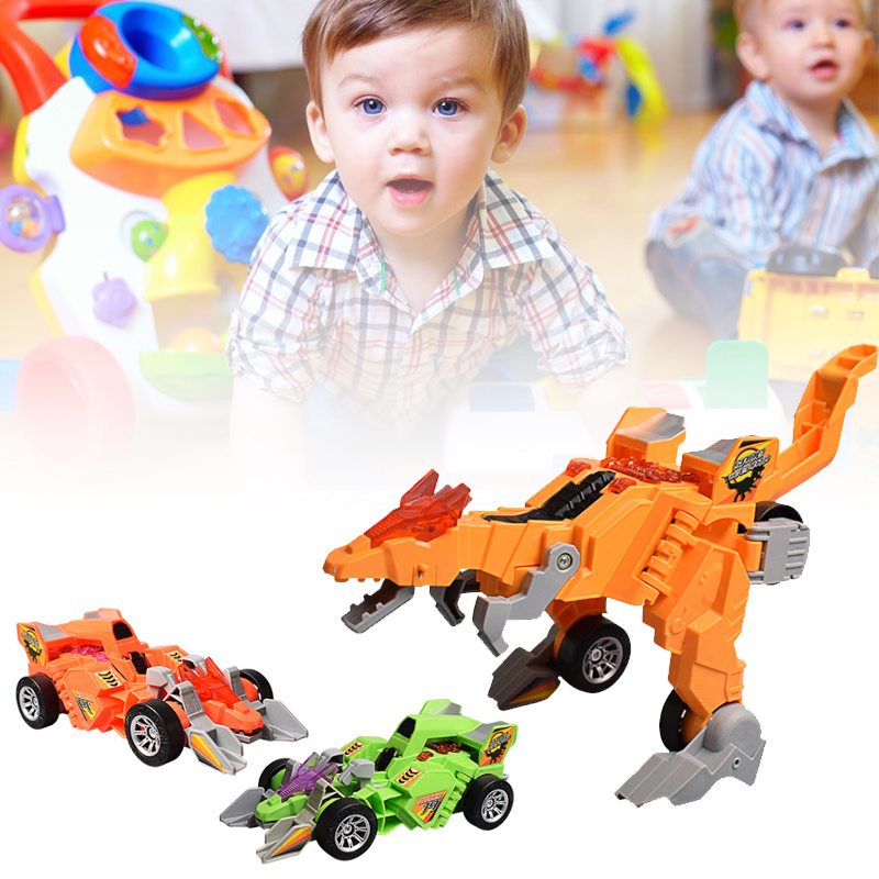 LED Deformation Car Toy Dinosaur Playing Toys With Light Music Gifts For Kids NSV775