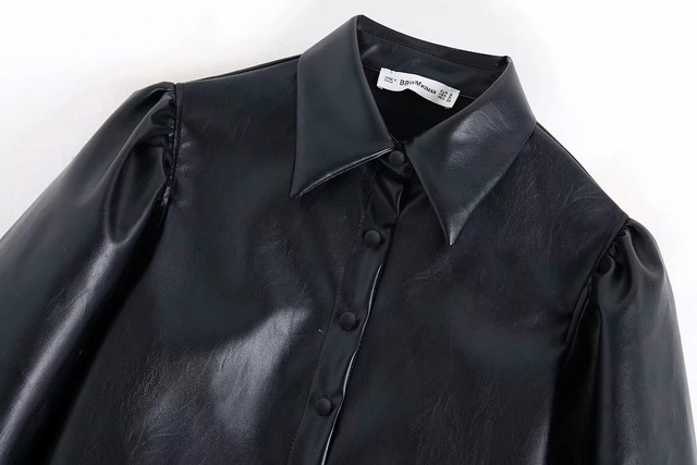 New design za PU faux leather Womens Blouses Shirts puff sleeve autumn Womens tops and blouses streetwear korean Camisa Blusas 17