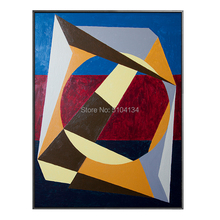 Simple Design Artist Hand-painted Geometry Oil Painting on Canvas Abstract Modern Block for Living Room