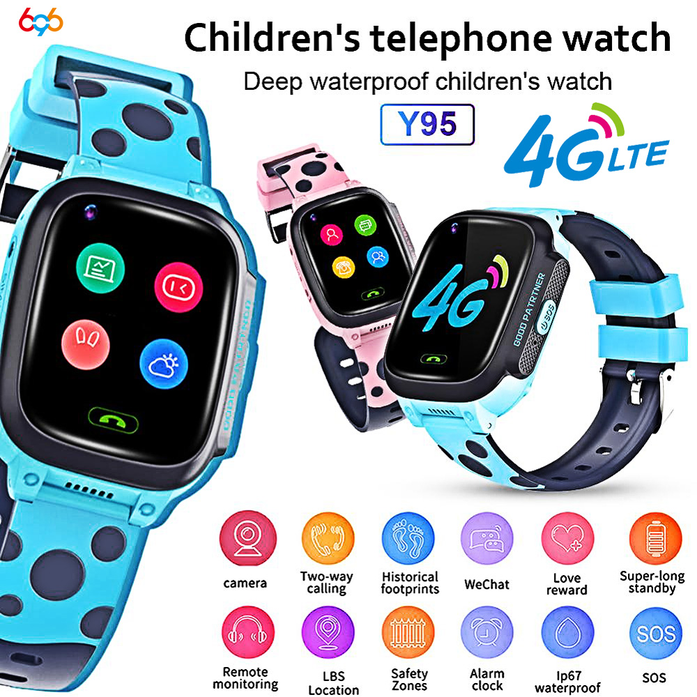 Y95 Child Smart Watch Phone GPS Waterproof Kids Smart Watch 4G Wifi Antil-lost SIM Location Tracker Smartwatch HD Video Call