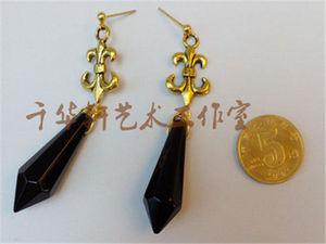 Image 3 - Cartoon Sailor Moon Handmade Shiny Saturn Black Lady 925 Silver Earring Ear Stud Cosplay Props Gift