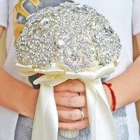 DIA 20CM Luxury Full Crystal Wedding Bouquet Hand Made Ribbon Flower Bridesmaid Bridal Wedding Bouquet Fashion Wedding Acces