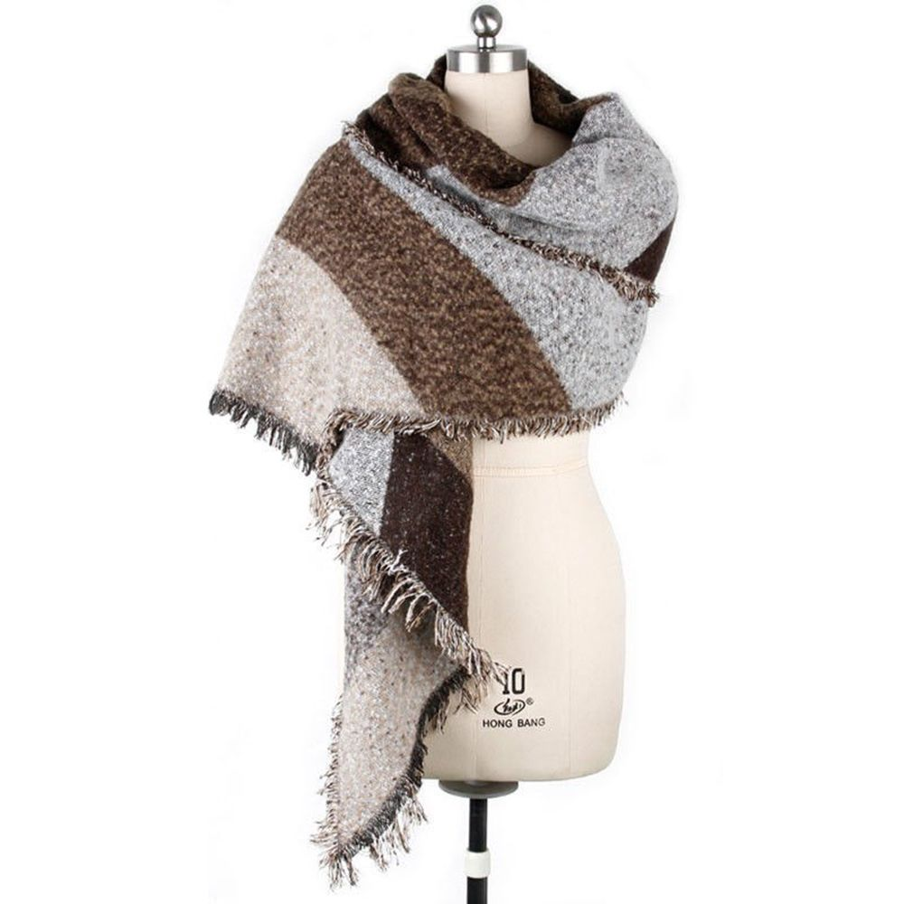 New Womens Winter Thick Warm Wool Pashmina Cashmere  Scarves Shawl Wraps With Tassel Lady Winter Autumn Long Scarf High Quality