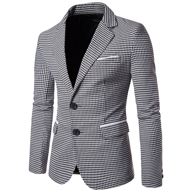 Spring And Autumn New Style Casual Fashion Men Classic Thousands Of Birds Suit Coat