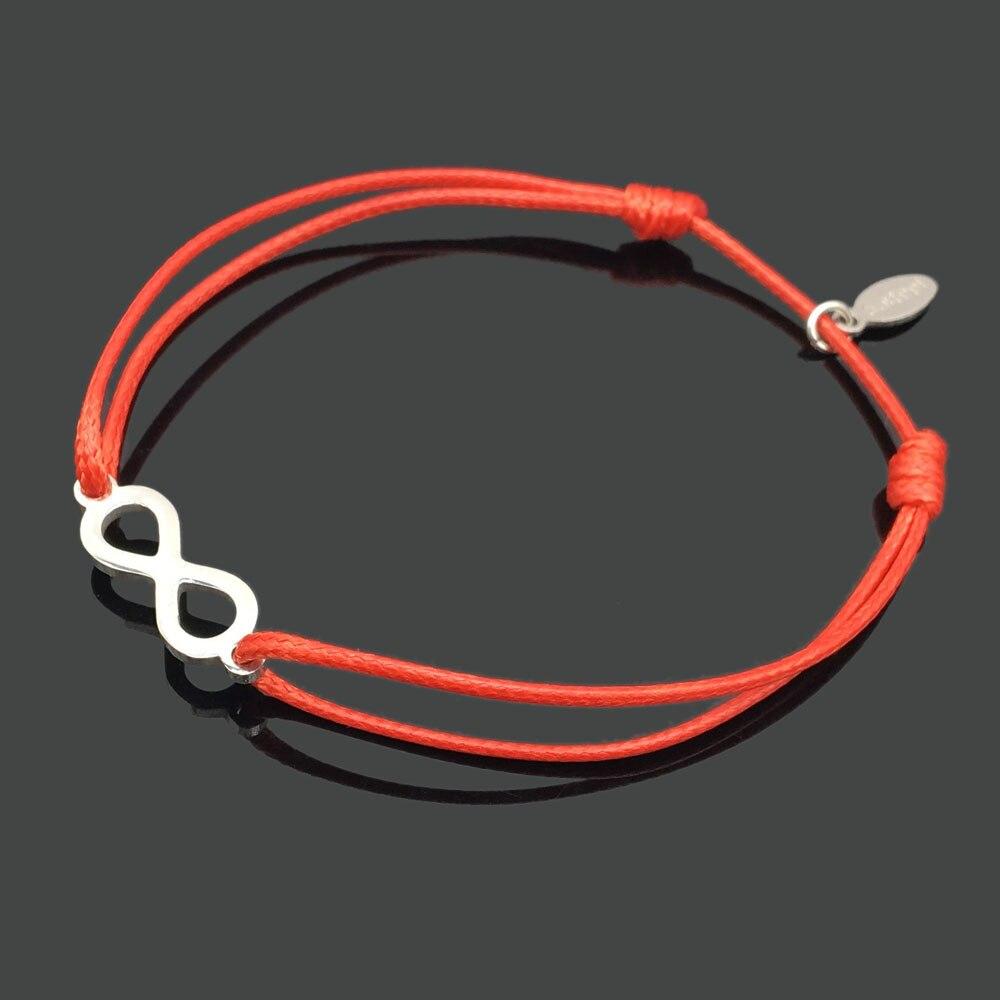 2 шт браслет желаний из нержавеющей стали, регулируемый шнур, хороший браслет, приносящий удачу, красный браслет дружбы - Окраска металла: stainless infinity