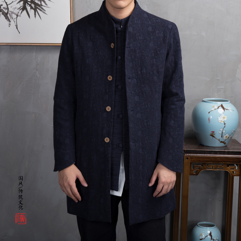Men   Trench   Coat Cotton Linen Single-breasted Windproof Slim Jackets Male Classic Medium Length Stand Collar Overcoat