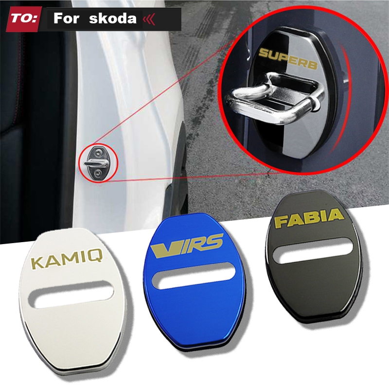 LQY 4pcs Car Door Lock Buckle Cover Car Sticker Car Accessories For Skoda Octavia FABIA KAMIQ KAROQ KODIAQ RAPID SCALA SUPERB RS