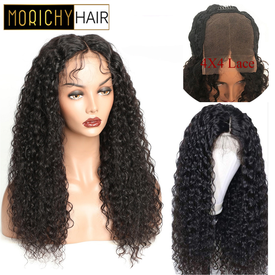 Morichy Kinky Curly 4x4 Lace Closure Human Hair Wigs Brazilian Non-Remy  Human Hair Pre Plucked Hairline 150% Density Black