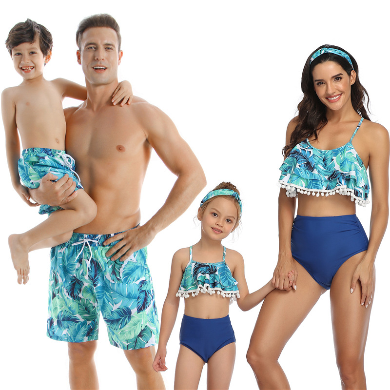 Family Matching Swimsuit Summer Beach Holiday Tassel Leaf Mom Me Dad Son Swimwear Shorts Girl Boy Men Women Couples Beahwear