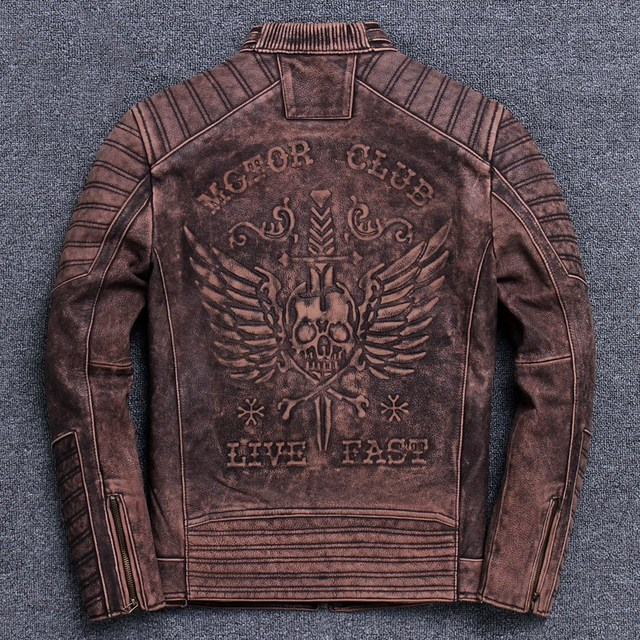 MOTOR CLUB LIVE FAST SKULL COWSKIN GENUINE LEATHER JACKET