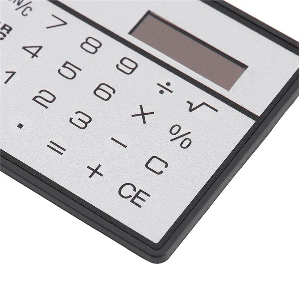 Calculadora de energ/ía solar ultradelgada de 8 d/ígitos con pantalla t/áctil Dise/ño de tarjeta de cr/édito Mini calculadora port/átil para escuela de negocios plateado