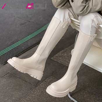 ANNYMOLI Knee High Boots Woman Real Leather High Heel Chelsea Boots Platform Chunky Heel Long Boots Zipper Ladies Shoes Beige 40 annymoli knee high boots high heel woman boots chunky heel round toe long boots zipper female shoes autumn winter beige size 46